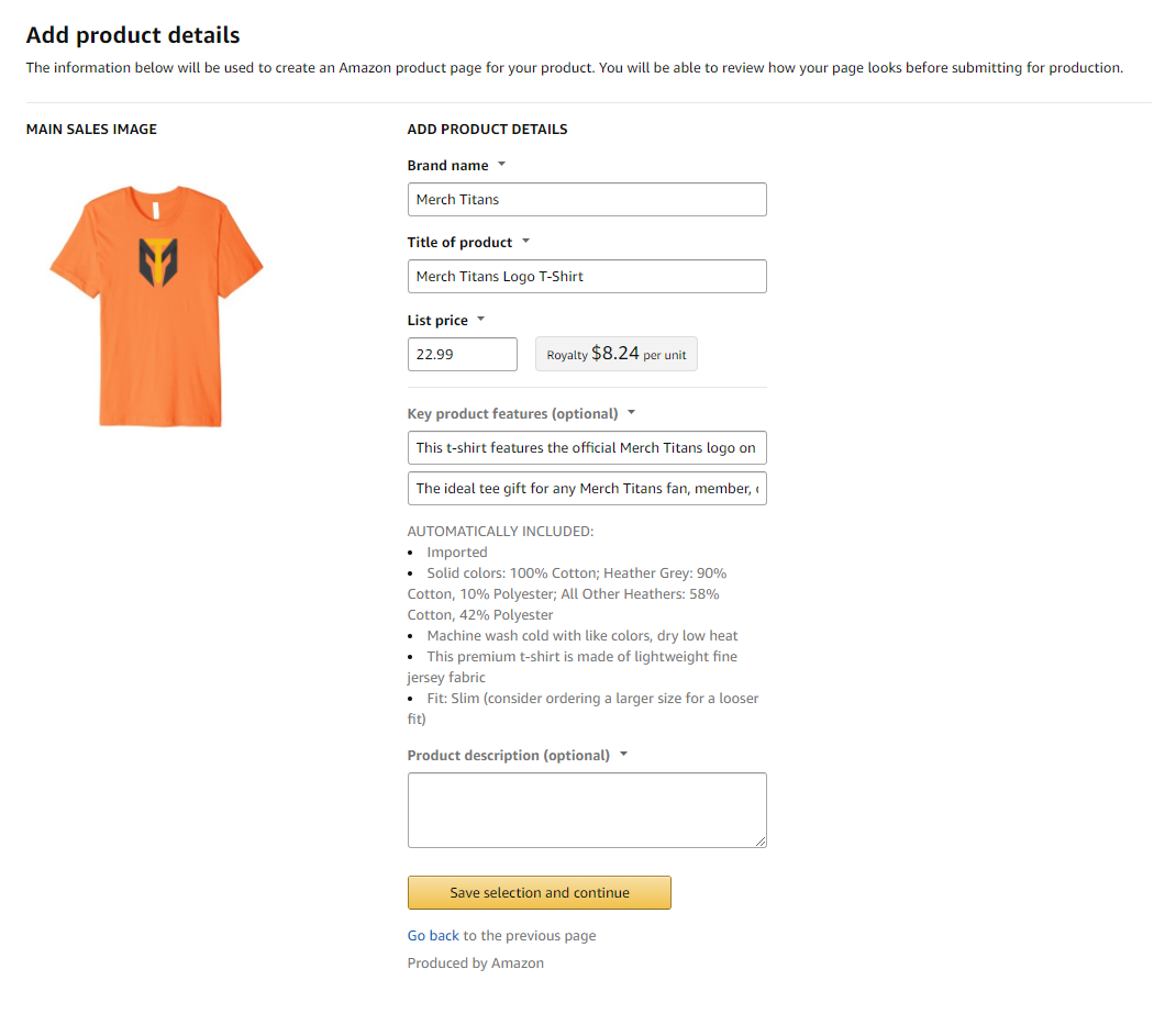 Merch by Amazon - Product Details Page