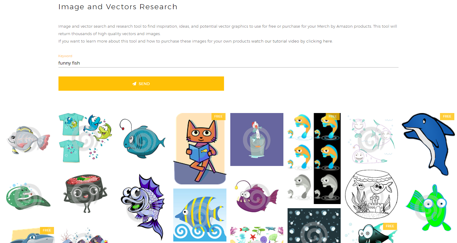 Merch by Amazon Image and Vectors Research Tool