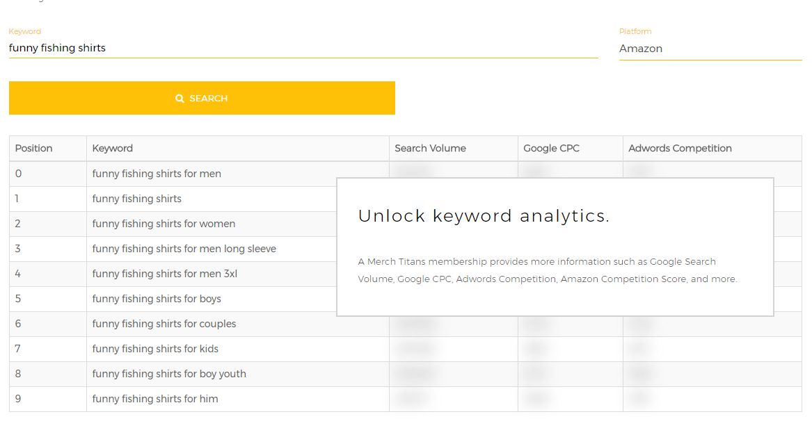 Keyword Reseach for Merch by Amazon - Free Tool