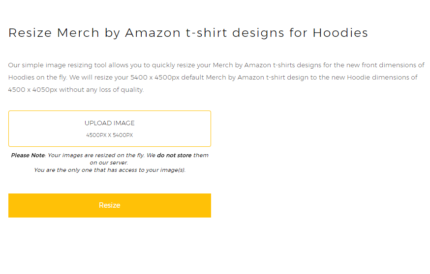 Merch by Amazon Image Resizer for Hoodies